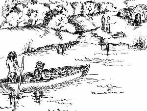 illustration of travelling up the lower Trinity River