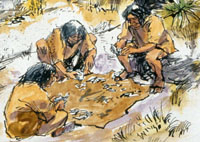 Making stone tools, or knapping.