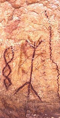 Close up of Red Linear pictographs. Photo by Steve Black.