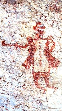 Close up of pictograph of European man, probably a Spaniard, at Vaquero Alcove. This was obviously painted by an Indian who had personally witnessed the man. This style shares strong similarities with the Plains Bibliographic style. Photo from ANRA-NPS Archives at TARL.