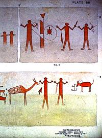 Example of one of Forest Kirkland's original watercolors of pictograph panels at Painted Rock Shelter in Painted Canyon, a small side canyon of the Rio Grande near Comstock, Texas.