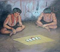 Four painted pebbles and a handful of Mountain Laurel beans rest on a mat in front of two men in a painted cave in a scene envisioned by artist Reeda Peel.