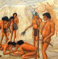 Participants in a ritual anoint themselves with red paint. The scene is a rockshelter in the Lower Pecos as envisioned by artist Reeda Peel.