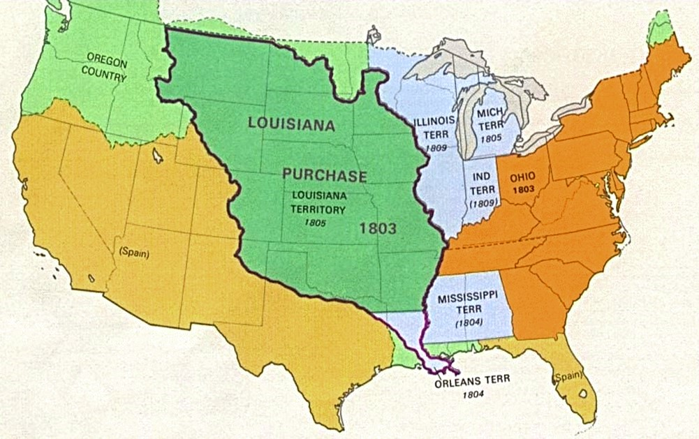 ... of territories and land included in Louisiana Purchase, early 1800s