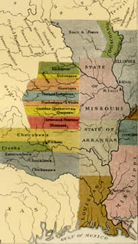 united states indian frontier in 1840 showing the positions of the tribes that have been removed west of the mississippi by frontier artist george