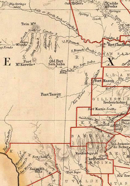 Detail Map Of Texas.Frontier Forts