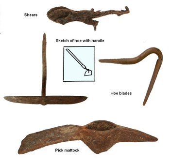 photo of rusty metal relics are the remains of tools once used for gardening and working. What  39 s the evidence