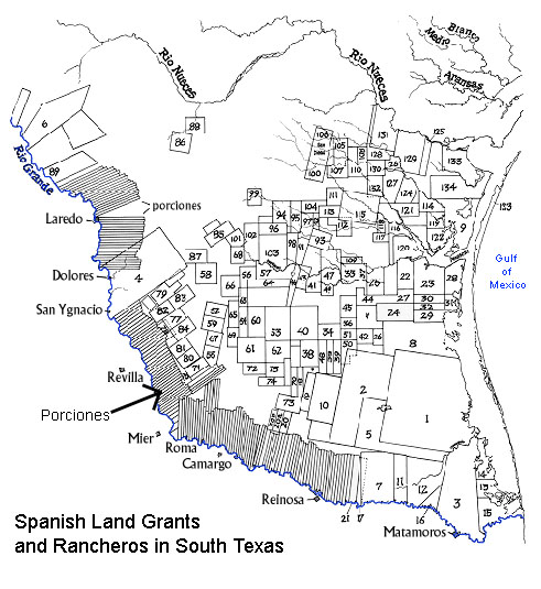Early Ranching - South texas map with cities