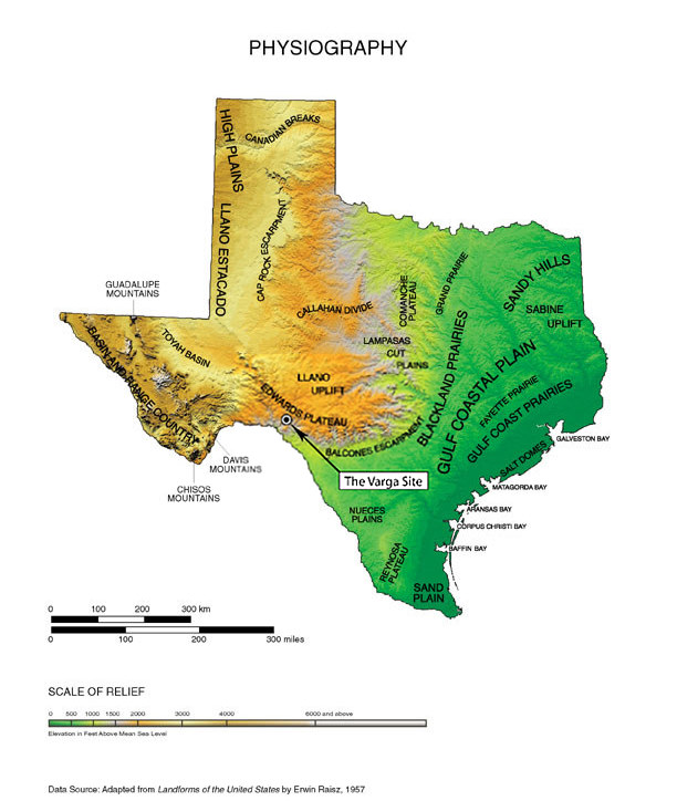 Physical Map - A map of texas